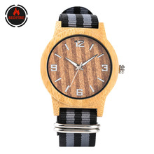 REDFIRE Natural Bamboo Wood Men Watches Quartz Movement Nylon Men's Wristwatch Wooden Clock Gift for Male reloj de madera light green brown dial wood watch minimalism simple wooden natural bamboo male female genuine leather gift clock reloj de madera