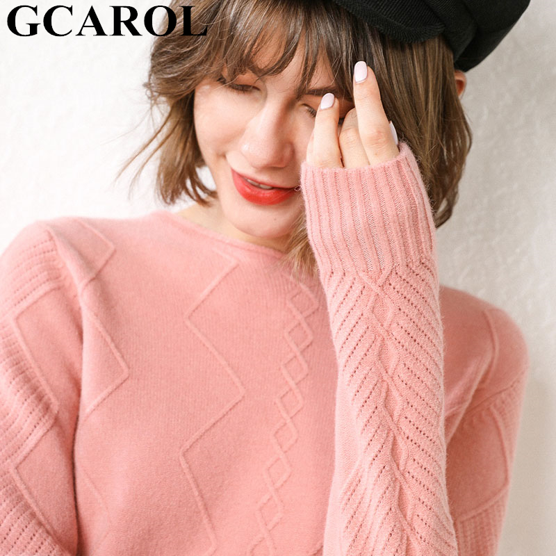 GCAROL New Women O Neck Curled Rhombic Sweater Fall Winter 30% Wool Cashmere Thick Jumper Stretch Warm OL Knitted Pullover S-3XL