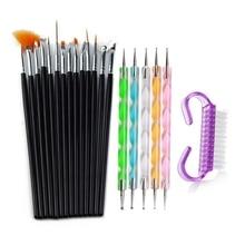 цена на Wholesale Nail Art Brush Design Tips Painting Drawing Carving Dotting Pen Builder Flat Liner Acrylic Gel UV Polish Tool Manicure