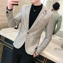 Business Casual Men Blazers Plaid Tuxedos Blazer Jacket Slim fit Wedding Suits for Brown New