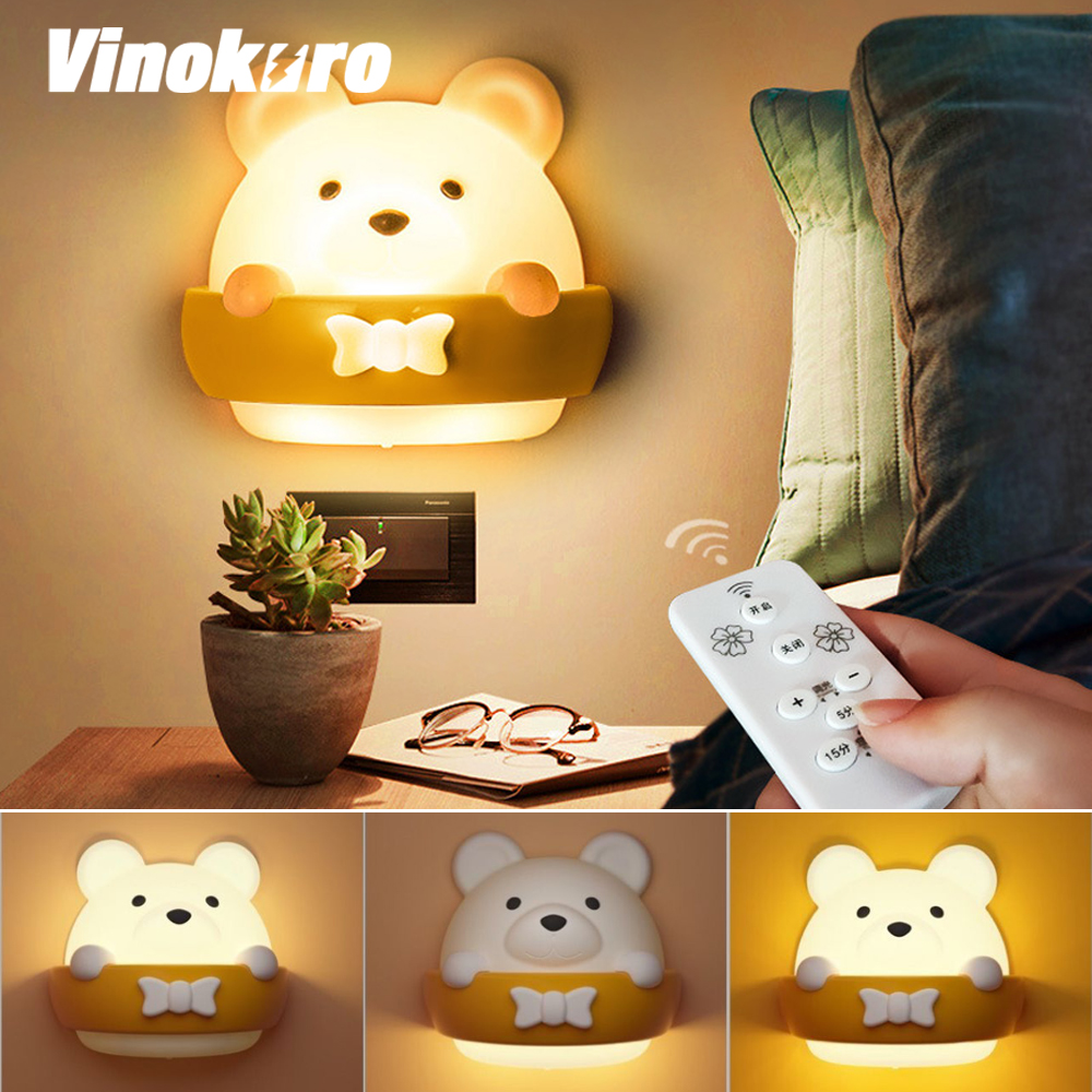 LED Night Light Timing Table Lamp USB Rechargeable Wall Lamps With Remote Control Children Gift Lantern Bedroom Bedside Lights