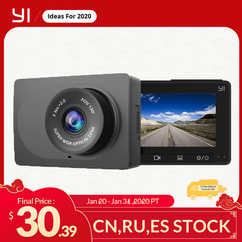 Yi câmera compacta 1080p hd completa do painel do carro do traço câmera com tela lcd de 2.7 polegadas 130 wdr lente g-sensor de visão noturna preto
