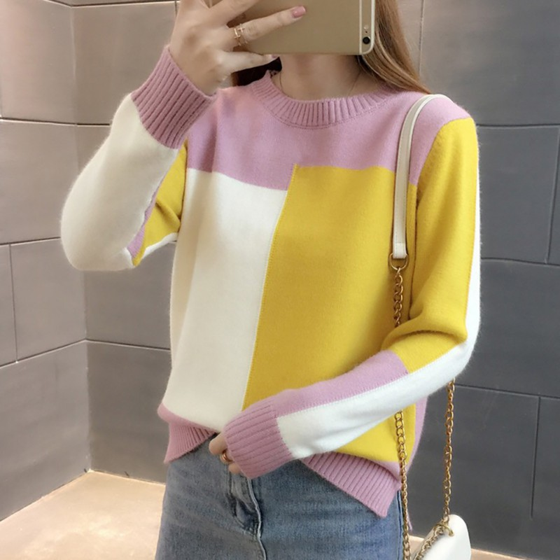 Women Winter Sweater Long Sleeve Patchwork Jumper Girl Korean Style Pullover Knitted Jumpers Pull Femme