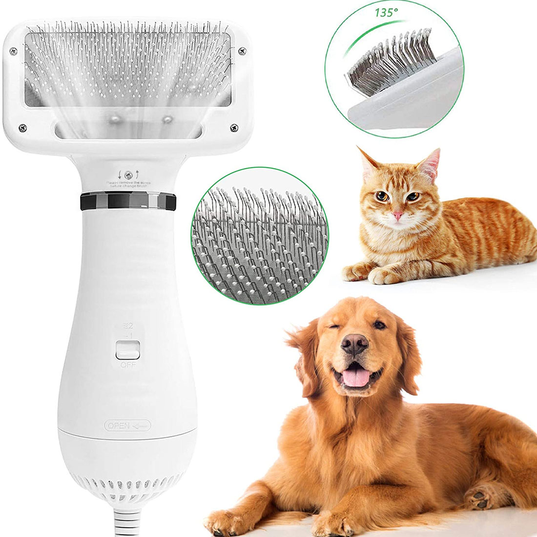 Household 2 in 1 Pet Grooming Hair Dryer With Slicker Brush Pet Cat Dog  Hairbrush Dog Comb Pet Hair Dryer And Comb Pet Grooming|Dog Dryers| -  AliExpress