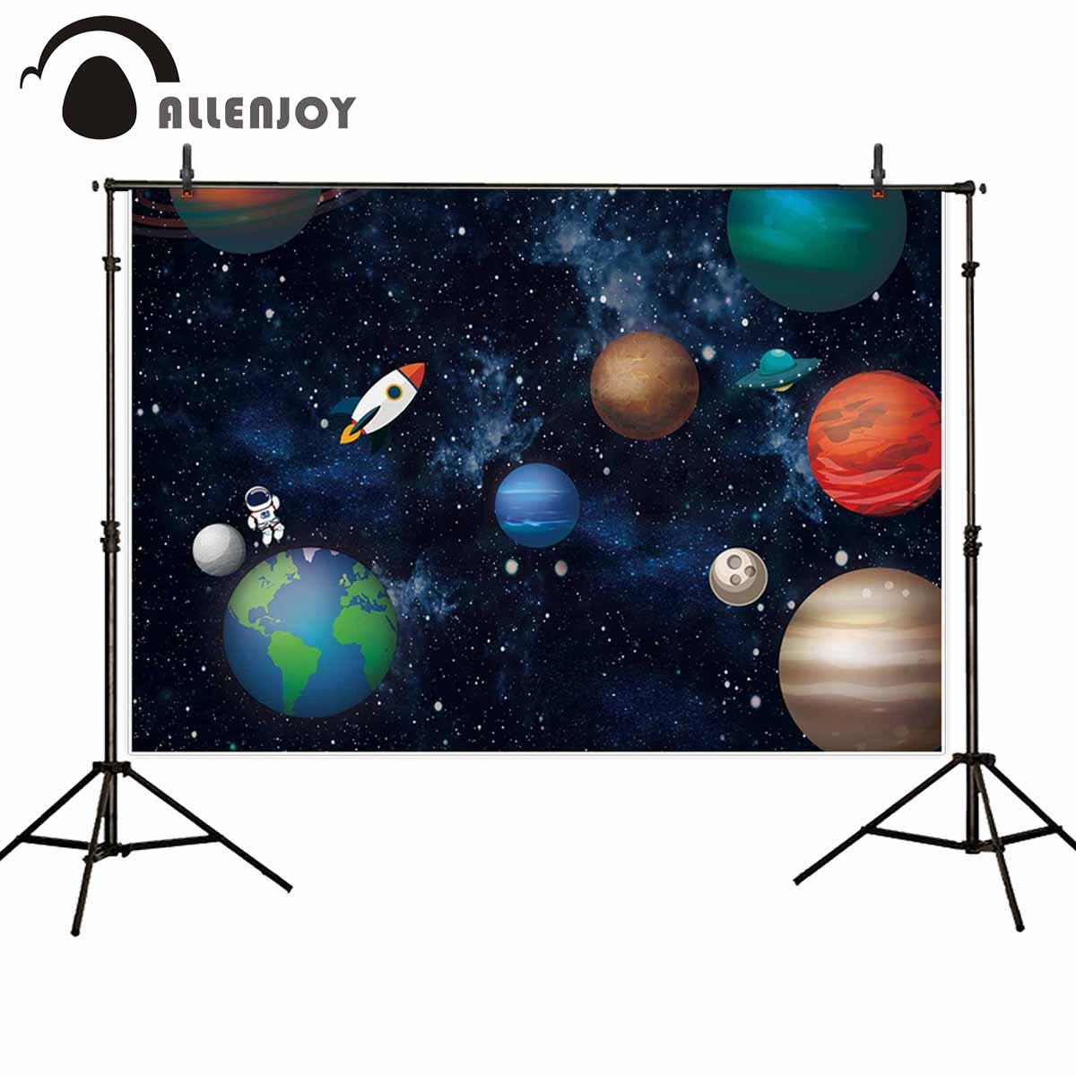Allenjoy космический фотосессия земля луна звезды планета астронавт Вселенная фоны ткань детский душ баннеры для вечеринки на день рождения за...