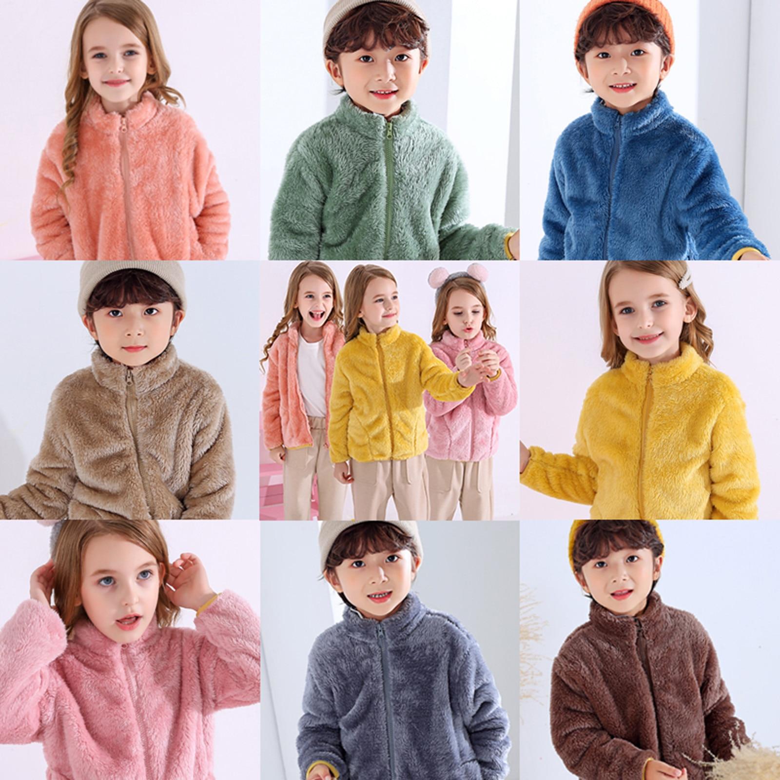 Пальто для детей; Детская одежда; Теплые фланелевые Зимние флисовые куртки для маленьких мальчиков и девочек; Толстовка; Плотные пальто; куртка для девочек-4