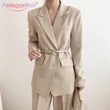 Aelegantmis – Blazer ample et décontracté pour femmes, veste d'étudiant coréen, à manches longues, avec poches, pour le bureau, pour les affaires, avec ceinture