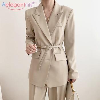 Aelegantmis Loose Casual Women Blazers Korean Student Blazer Long Sleeve Pocket Jacket Office Lady Business Blazer Coat Sashes