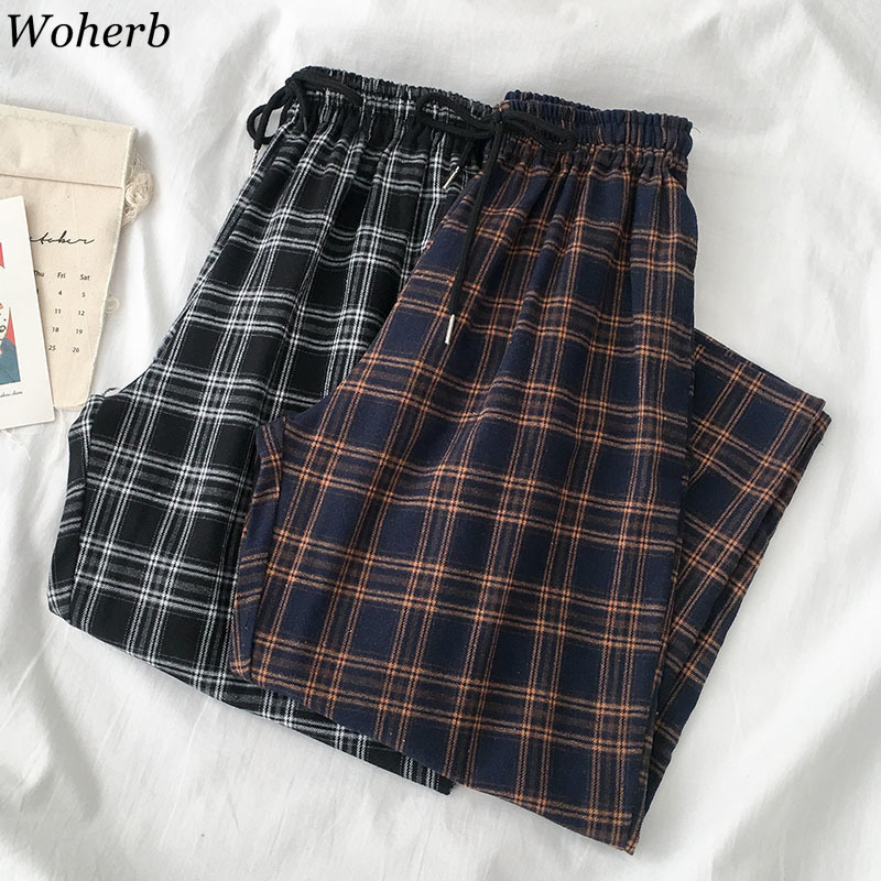 Woherb Plaid Pants Female Korean Style Harajuku Boyfriends Wide Leg Pants Loose Vintage Casual Joggers Women Elastic Waist Capri