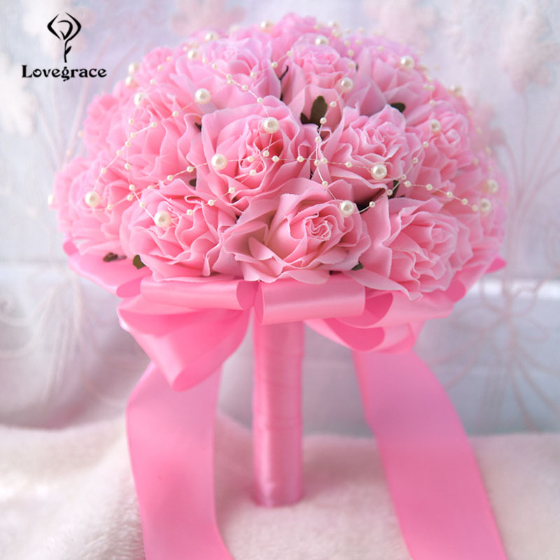 Lovegrace Bride Wedding Bouquet Flower Bridesmaid Holding Flower Artificial Silk Rose Fake Pearl Party Prom Wedding Bouquets