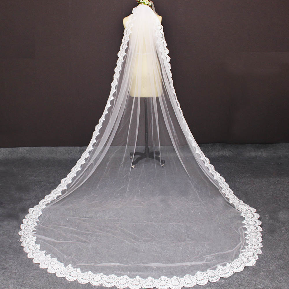 New Arrival 3 Meters Long Lace Wedding Veil With Comb Soft Tulle 3M Bridal Veil White Ivory Veil Voile Mariage Bride Accessories