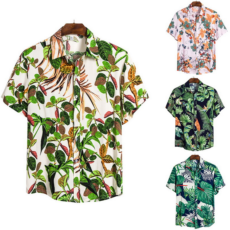 New Arrival Summer Men Hawaiian Casual Shirts Men Tropical Button Tops Fashion Shirts Casual Short-sleeve Men Slim Fit Shirts