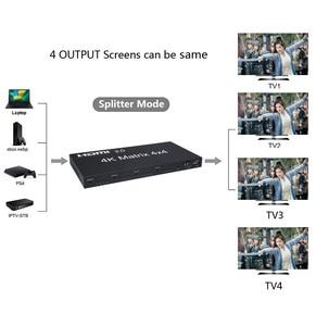 Image 4 - HDMI 2.0 4K 60Hz HDMI Matrix 4x4 Switcher Splitter 4 In 4 Out anahtarı bölünmüş 1080P gerçek Matrix ses Video dönüştürücü w/ RS232 EDID