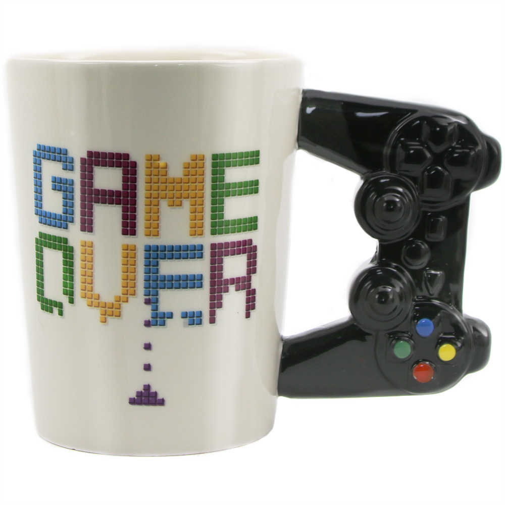 Game Over Ceramic Mug Gaming Style 3D Gamepad Controller Handle Coffee Milk Juice Mug Office Tea Cup Gamer Gameboy Birthday Gift