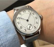 44 مللي متر GEERVO الأبيض الهاتفي الآسيوية 6498 17 جواهر اليد الميكانيكية الرياح حركة ساعة رجالي ساعات آلية بالجملة 179a