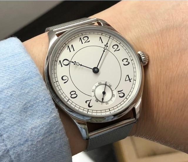 44 มม.GEERVO สีขาว dial เอเชีย 6498 17 Jewels มือลมผู้ชายนาฬิกาขายส่ง 179a
