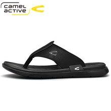 Camel Active 2021 New Summer Mens Leather Slippers Outdoor Flip Flops Men Slipper Casual Chanclas Hombre Flip Flop Flat Shoes