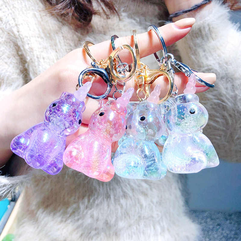 Transparent Cartoon Keychain Unicorn Pendant Decoration Toys Unique Colorful Creative Gifts Toy Small Plush Birthday Present