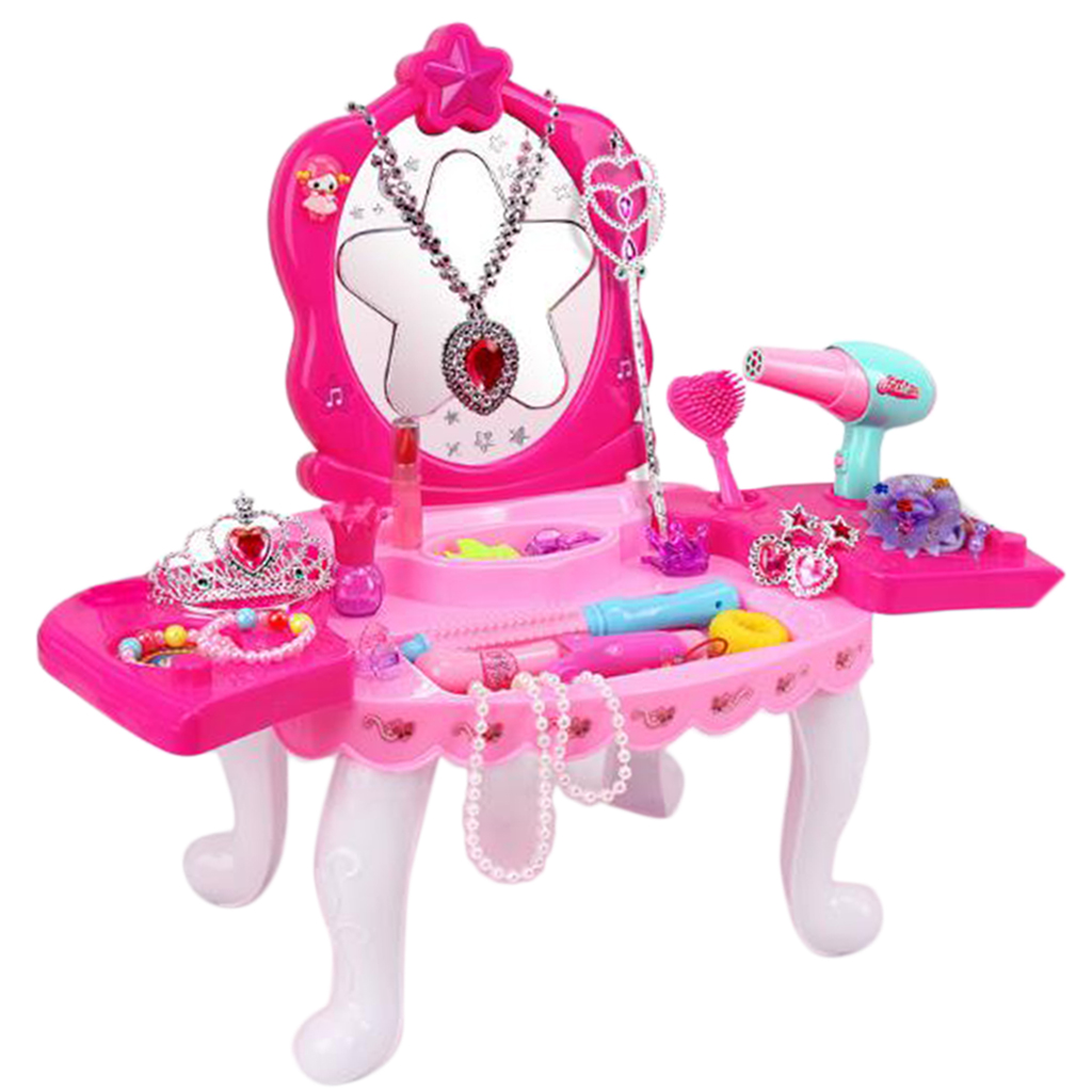 Kids Girls Role Play Set Dressing Table With Makeup Earrings Hair Clips Pretend Toys Xmas Gifts