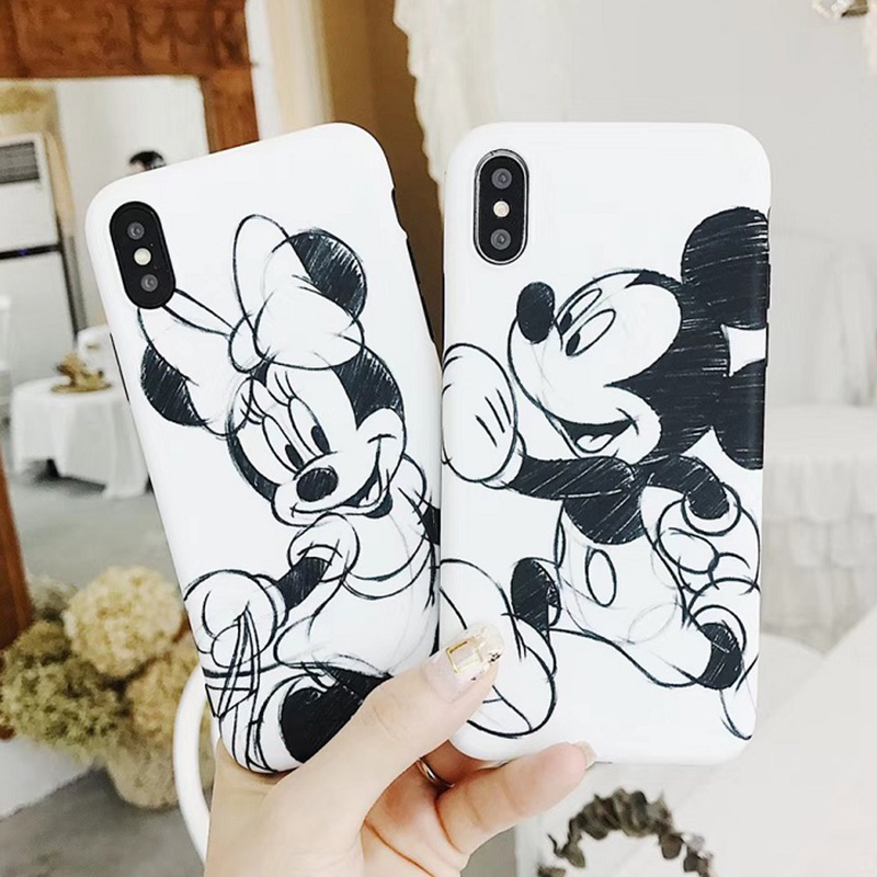 White cartoon graffiti mouse <font><b>coque</b></font> case for <font><b>iphone</b></font> XS Max 11 Pro painting phone cover for <font><b>iphone</b></font> 11pro <font><b>6</b></font> 6s 8 7 Plus conch shell image