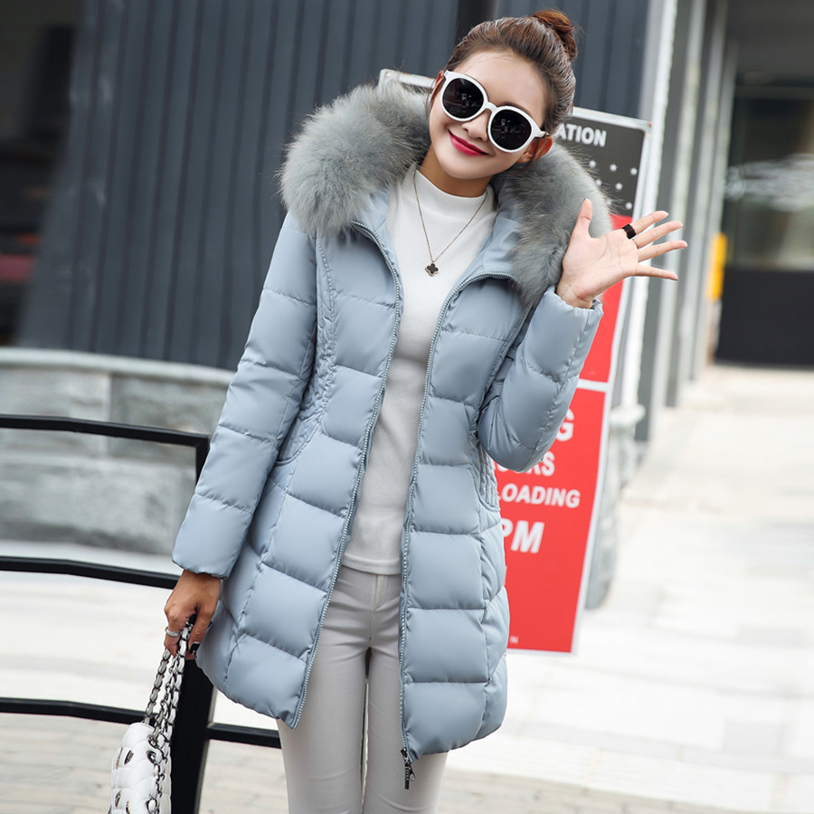 Solid Winter Long Fur Hooded Down Coats Women Fashion Loose Thicken Warm Cotton Jacket Female Korean Plus Size Parka Outwears