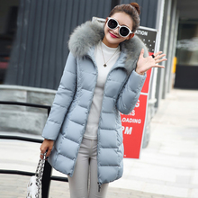 Solid Winter Long Fur Hooded Down Coats Women Fashion Loose Thicken Warm Cotton