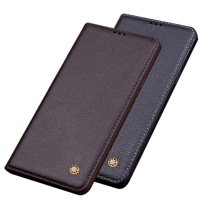 Genuine Leather Magnetic Slot Holder Mobile Phone Case For Nokia 6.7/Nokia 6.3/Nokia 5.4/Nokia 3.4/Nokia 2.4 Holster Case