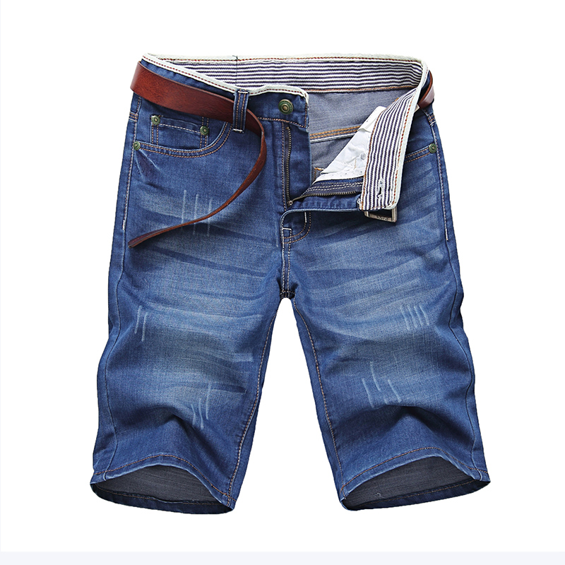 Jeans Men Classic Men's Denim Shorts Good Quality Short Jeans Men Cotton Solid Straight Short Jeans Male Blue Casual Short Jeans