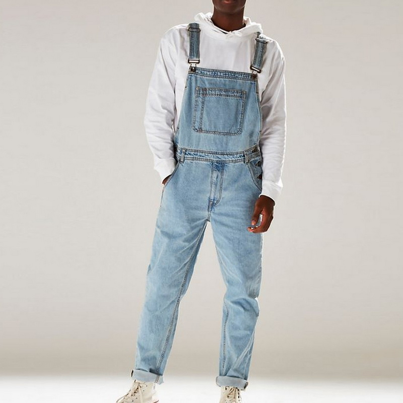 Men's Fashion Holes Distressed Slim Fit Stretch Jeans 2019 New Mens Denim Bib Overall Jumpsuits Casual Straight Loose Jeans