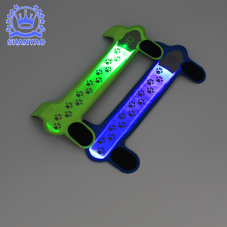 Pet Supplies LED Shining Warning Light Neck Ring Bandage Cloth Dog Nylon LED Light Outdoor LED Luminous Strap