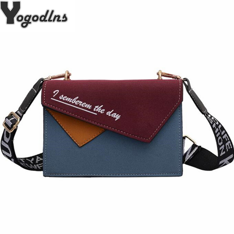 Trendy Scrub PU Patchwork Women Flap Bag Contrast Color Ladies Messenger Bags Letter Print Wide Shoulder Bag Purse Ins Style