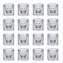 16 шт., чашка с черепом, 25 мл, двойная изоляция, прозрачное стекло, кофе, молоко, пиво, виски, водка, вино, шампанское, Коктейльные бокалы для вина