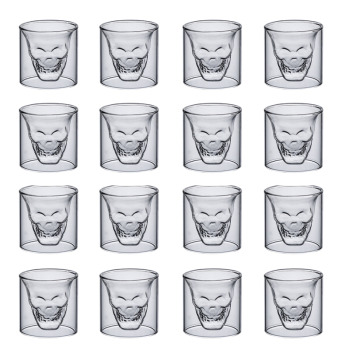 2-16PCS skull cup 25ML Double transparent glass beer whiskey vodka wine water champagne cocktail wine glasses Coffee milk mugs