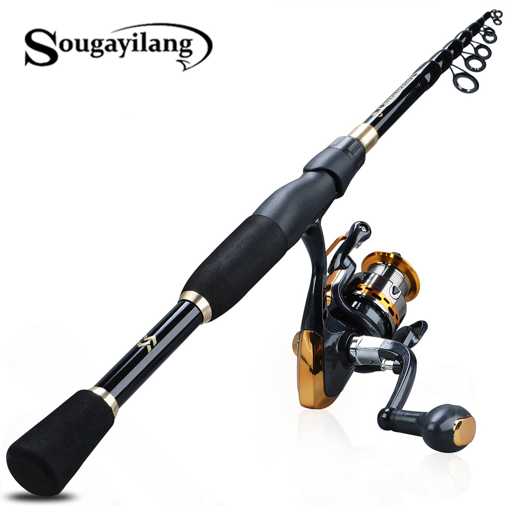 Sougayilang 1.8-2.4m Telescopic Fishing Rod Set Ultralight Weight Rod with13+1BB Spinning Reel Saltwater Freshwater Reel Tackle