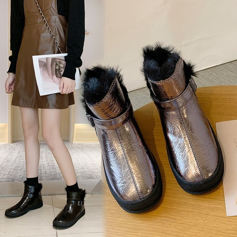 Winter snow boots for women, outdoor fur shoes, women's warm shoes, wool boots, solid rhinestones, casual women's boots 71