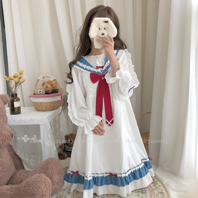 Women Japanese Style Navy Collar Kawaii Lolita Sailor Suit Tea Party Princess Dress Girls Bow Lace White T-Shirt Cosplay Costume