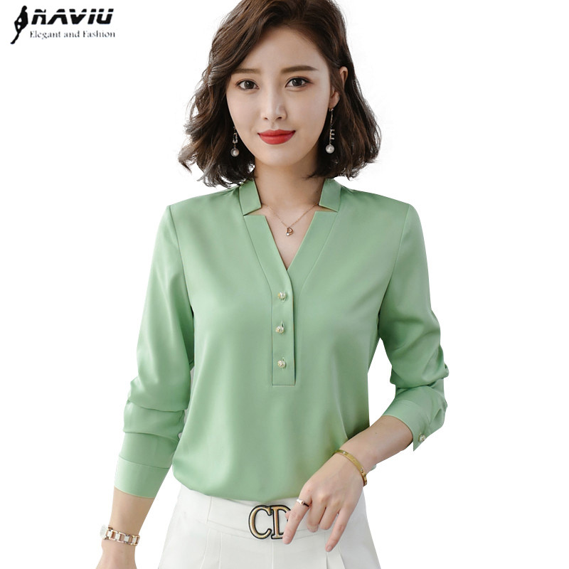 High quality fashion women shirt new autumn v neck long sleeve slim business blouses office ladies light green work topsBlouses & Shirts   -