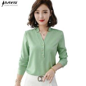 Image 1 - Wysokiej jakości moda damska koszula nowa jesienna V Neck z długim rękawem Slim Business bluzki biurowa, damska jasnozielona bluzki do pracy