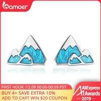 BAMOER Trendy 925 Sterling Silver Unico Iceberg Piccolo Blu Dello Smalto Orecchini con perno per Le Donne Gioielli In Argento Sterling Regalo SCE475