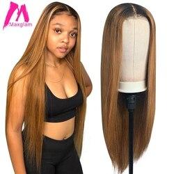 Bone Straight 4x4 Closure Wig Ombre Colors Human Hair Wigs Lace Closure Short Bob Brazilian Pre Plucked Remy For Black Women