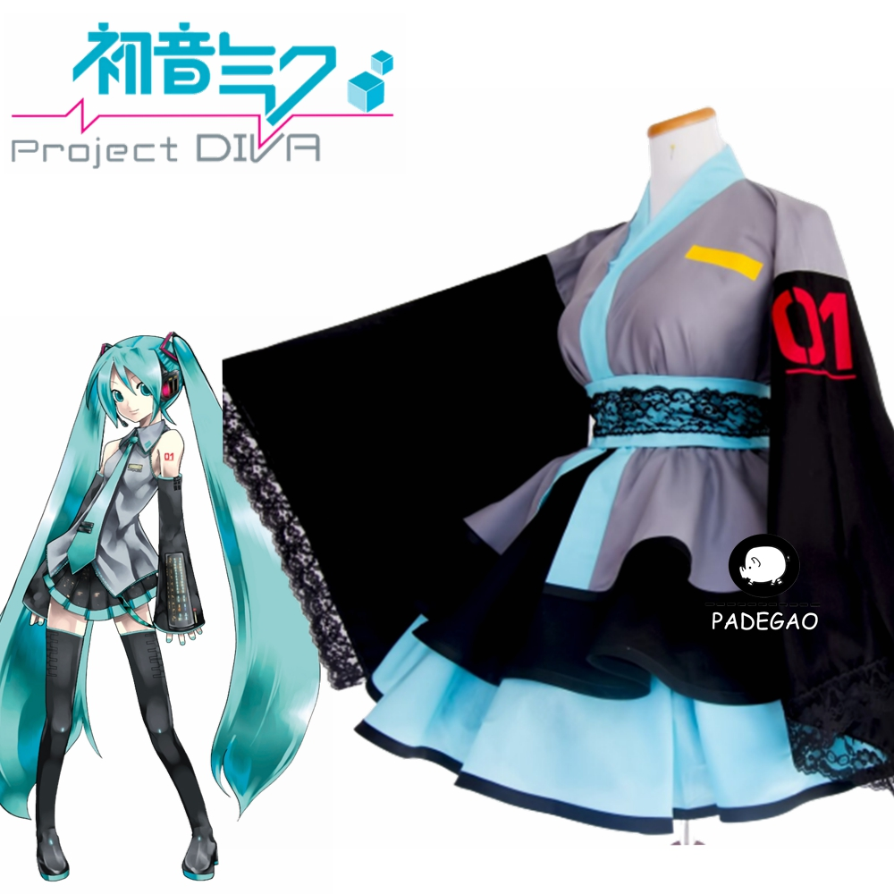 Japanese Anime Vocaloid Hatsune Miku Women Lolita Kimono DressCosplay Costume Cutome-Made Free Shipping