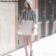 Thời Trang Nữ Mini Trắng Voan Váy Cổ Đen Bí Mật Saia Voan Bouffant Phồng Váy Ngắn Tutu Váy Tự Làm