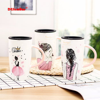 600ml Unique design beauty pattern Ceramic mug With Lid Large Capacity Mugs Drinkware Coffee Tea Cups Novelty Gifts milk cup