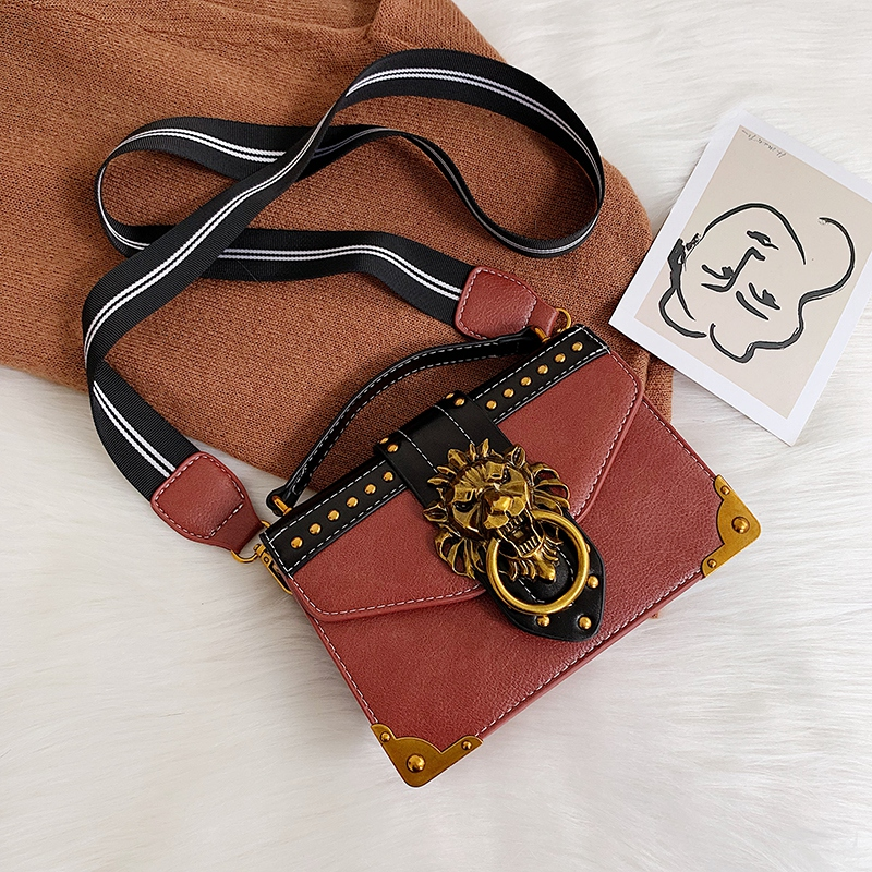 H74fc4a2553944ea88f85c78680749867S - Female Fashion Handbags Popular Girls Crossbody Bags Totes Woman Metal Lion Head  Shoulder Purse Mini Square Messenger Bag