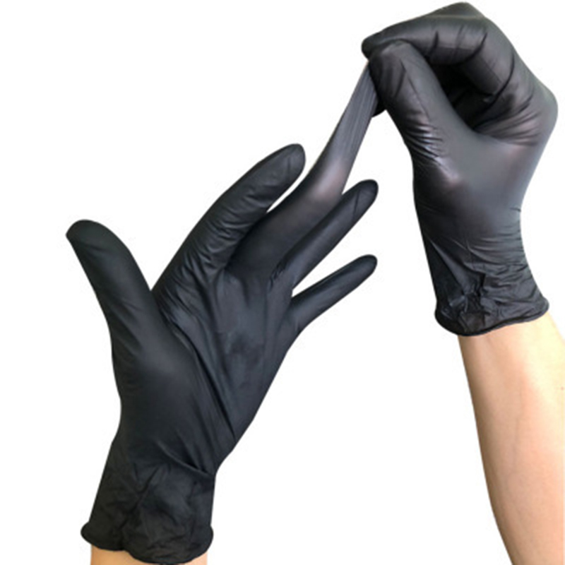 100pcs / box <font><b>black</b></font> white <font><b>disposable</b></font> nitrile <font><b>gloves</b></font>, for household cleaning products, industrial washing, tattoo <font><b>gloves</b></font> image