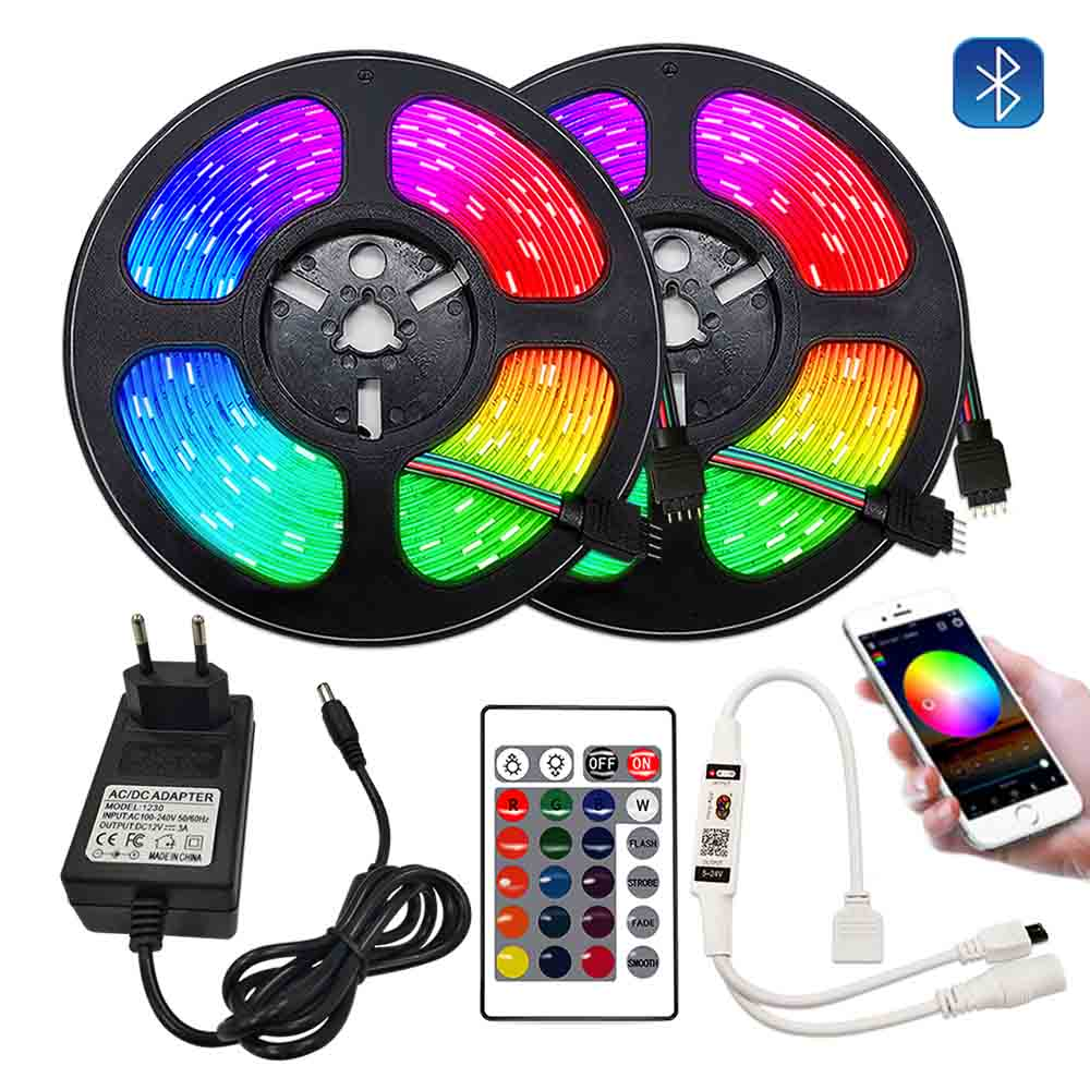 Taśmy LED RGB 12V 20M taśmy LED 5 m 10m 15m WiFi LED z Bluetooth światła do pokoju inteligentne wstążki Luces taśma RGB dekoracji