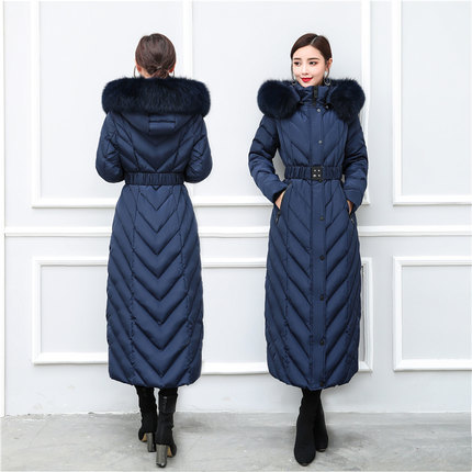 Fashion Winter Down Jacket Women Fox Fur Collar Slim Down Coat Female Long Parka Ladies Elegant Outwear Hood Hiver 18179