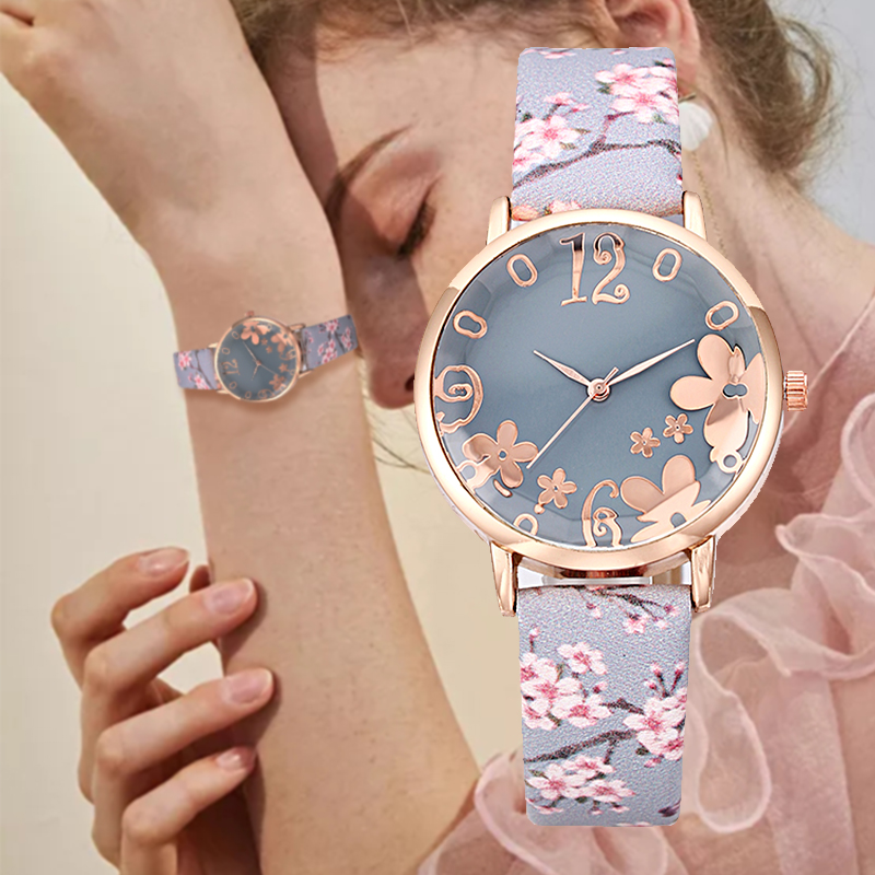 Fashion Floral Bracelet Leather Stripe Dial Watches For Women Stylish Quartz Wristwatch Luxury Ladies Dress Clock Reloj Mujer