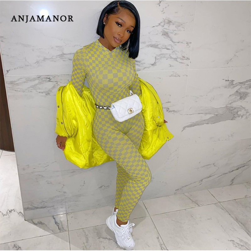 ANJAMANOR Fashion Checkerboard Long Sleeve Bodycon Jumpsuit Women Clothes Plaid Sexy One Piece Romper Streetwear 2020 D87-AD30