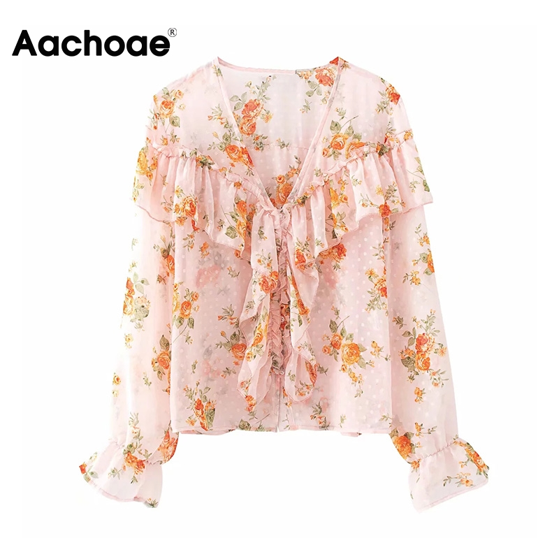 Sweet Women's Blouses Floral Print Ruffles Chiffon Blouse Casual Spring Summer Deep V Neck Long Sleeve Top Feminina Blusas